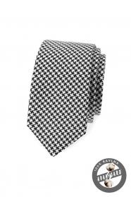 Černobílá úzká kravata z bavlny