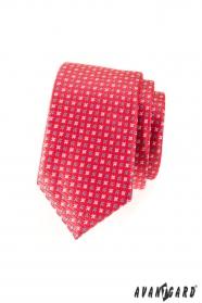 Úzká kravata SLIM tmavěrůžová matná s hvězdičkami