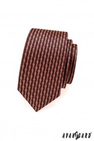 Kravata SLIM hnědé a červené tóny