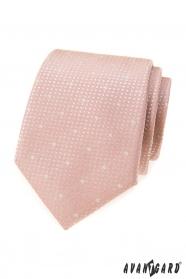 Pudrově růžová kravata se sněhovými  vločkami