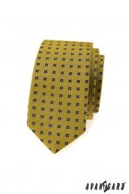 Tmavě žlutá slim kravata s modrým vzorem