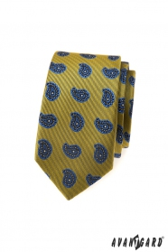 Zelenkavá kravata slim modrým Paisley vzorem