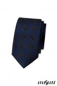 Modrá slim kravata s malým paisley vzorem