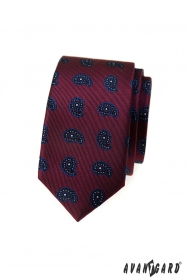 Bordó slim kravata s malým paisley vzorem