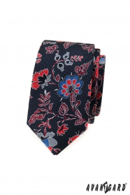 Pánská slim kravata s barevnými květinami