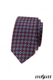 Pánská slim kravata s modro-červeným vzorem