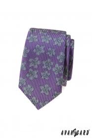 Fialová slim kravata s šedým vzorem