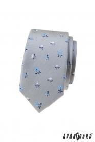 Šedá slim kravata s květy