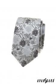 Slim kravata s šedým vzorem