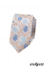 Béžová slim kravata s modrými květy