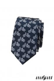 Modrá slim kravata s motivem jízdní kolo