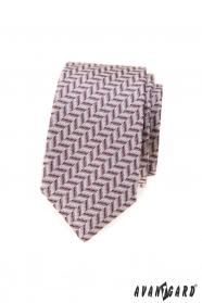 Slim kravata s pudrově růžovým vzorem