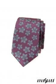Starorůžová slim kravata s šedými květy