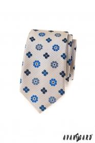 Béžová slim kravata s modrým vzorem