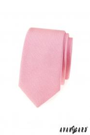 Růžová strukturovaná slim kravata