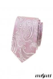 Růžová slim kravata s paisley motivem