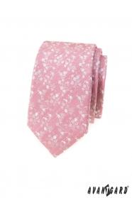 Pudrově růžová slim kravata s bílým vzorem