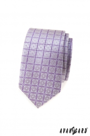 Slim kravata s lila květy