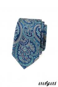 Slim kravata s modrým paisley motivem