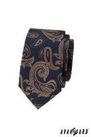Modrá slim kravata s hnědým paisley motivem
