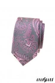 Šedá slim kravata s růžovým paisley vzorem