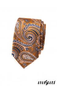 Oranžová slim kravata s modrým paisley vzorem
