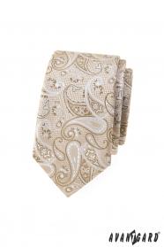 Béžová slim kravata s paisley vzorem