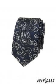 Tmavě modrá slim kravata s paisley motivem