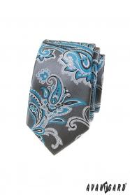 Šedá slim kravata s tyrkysovým paisley motivem