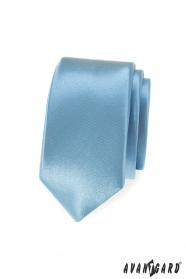 Bledě modrá, lesklá slim kravata