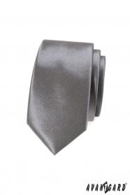Úzká kravata SLIM grafitová jednobarevná