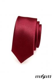 Hladká úzká bordó kravata SLIM
