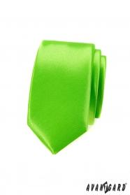 Úzká kravata SLIM zelená jednobarevná lesk