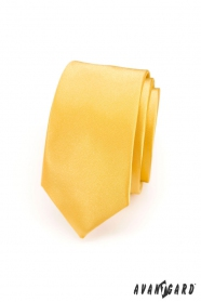 Úzká kravata SLIM hladká žlutá
