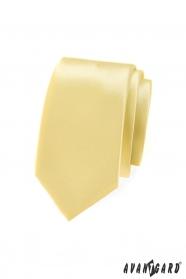 Jednobarevná, světle žlutá kravata SLIM