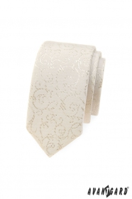 Úzká kravata Avantgard ve smetanovém tónu