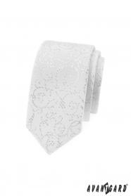 Bílá slim kravata se stříbrnými ornamenty