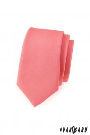 Úzká kravata SLIM starorůžová mat