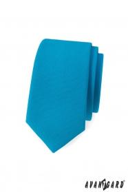 Matná tyrkysová slim kravata