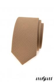 Světle hnědá slim kravata