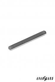 Stříbrná spona na kravatu s černým vzorem