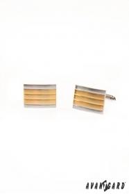 Manžetové knoflíčky stříbrné zlaté proužky
