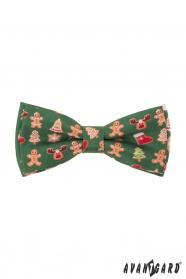 Zelený motýlek s vánočním vzorem