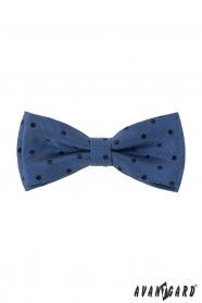 Vzorovaný motýlek s modrým puntíkem + kapesníček