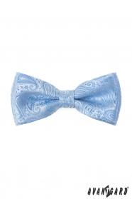 Paisley motýlek s kapesníčkem v leskle modré