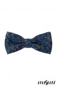 Modrý motýlek s kapesníčkem barevný vzor Paisley