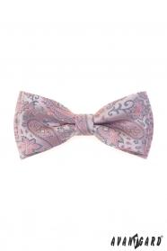 Motýlek s pudrově růžovým a šedým Paisley vzorem + kapesníček