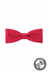Červený pánský motýlek ze 100% bavlny bílé hvězdy