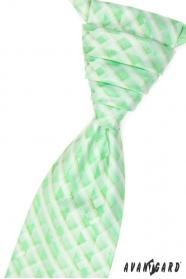 Svatební kravata s kapesníčkem zelená kostkovaná