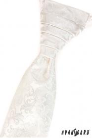 Krémová vzorovaná svatební kravata